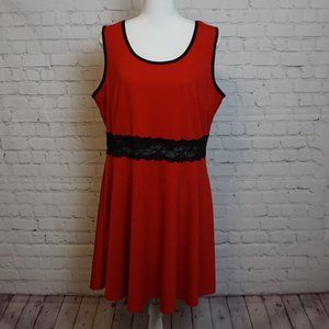 Dots Red Black Lace Cutout Fit and Flare Dress 1X